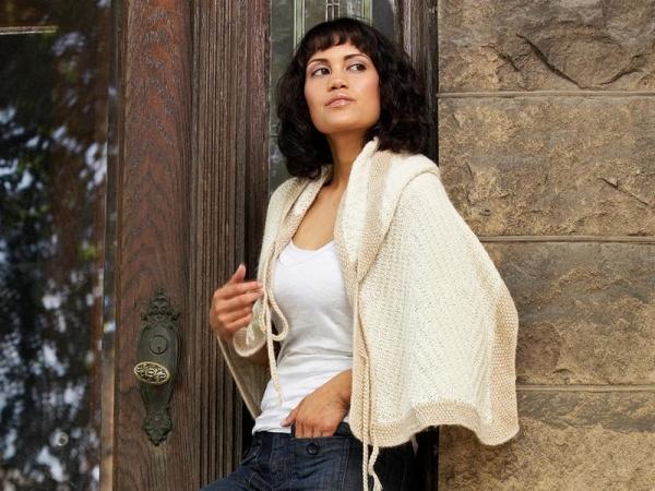 Mayu Hand-Knit Alpaca Knit Alpaca Shawl Wrap with Hood